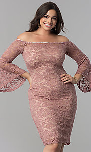 Image of knee-length lace off-the-shoulder party dress. Style: MB-MX1373 Detail Image 2