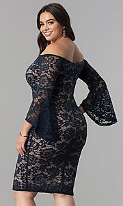 Image of knee-length lace off-the-shoulder party dress. Style: MB-MX1373 Back Image