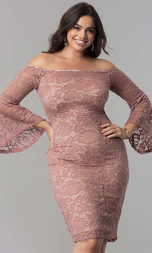Image of knee-length lace off-the-shoulder party dress. Style: MB-MX1373 Front Image
