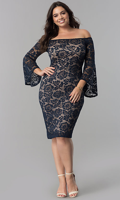 Image of knee-length lace off-the-shoulder party dress. Style: MB-MX1373 Detail Image 1