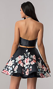 Image of two-piece satin short homecoming dress with print.  Style: BL-A11405 Back Image