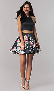 Image of two-piece satin short homecoming dress with print.  Style: BL-A11405 Detail Image 1