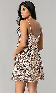 Image of sequin-print short homecoming dress in blush pink. Style: EM-DQR-3281-690 Back Image