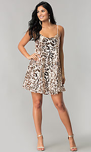Image of sequin-print short homecoming dress in blush pink. Style: EM-DQR-3281-690 Detail Image 1