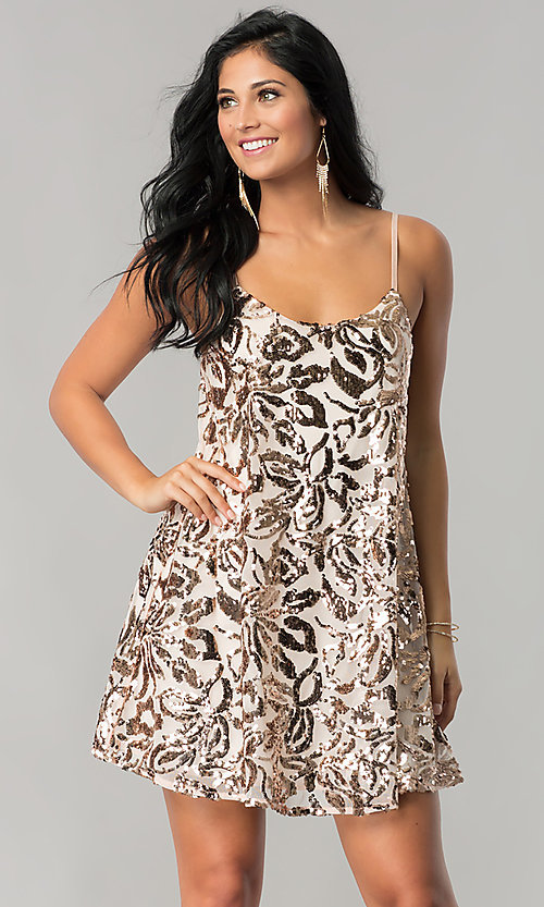Image of sequin-print short homecoming dress in blush pink. Style: EM-DQR-3281-690 Front Image
