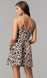 Image of short glitter-print homecoming dress in blush pink. Style: EM-FKW-3312-692 Back Image