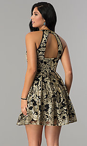 Image of gold-embroidered short black homecoming party dress.  Style: EM-FLR-3289-030 Back Image