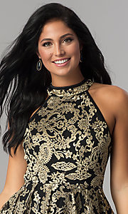 Image of gold-embroidered short black homecoming party dress.  Style: EM-FLR-3289-030 Detail Image 1