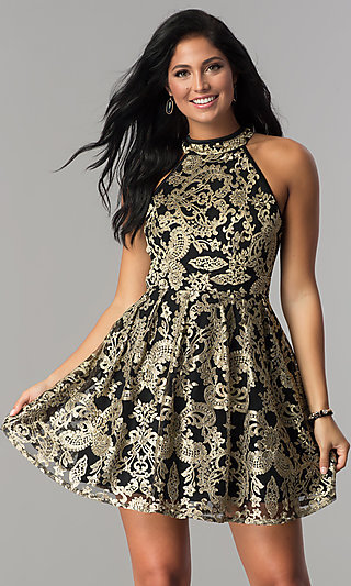 Short Black and Gold Embroidered Homecoming Dress .
