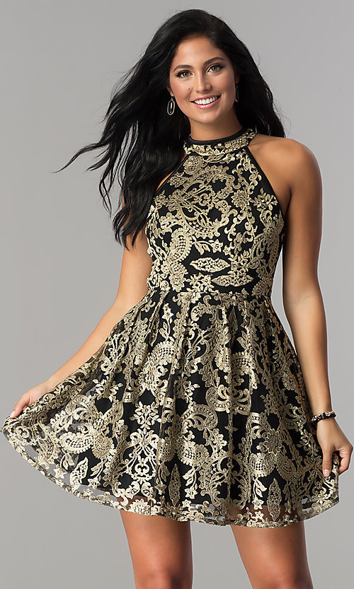 Image of gold-embroidered short black homecoming party dress.  Style: EM-FLR-3289-030 Front Image