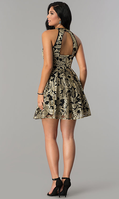 Image of gold-embroidered short black homecoming party dress.  Style: EM-FLR-3289-030 Detail Image 3