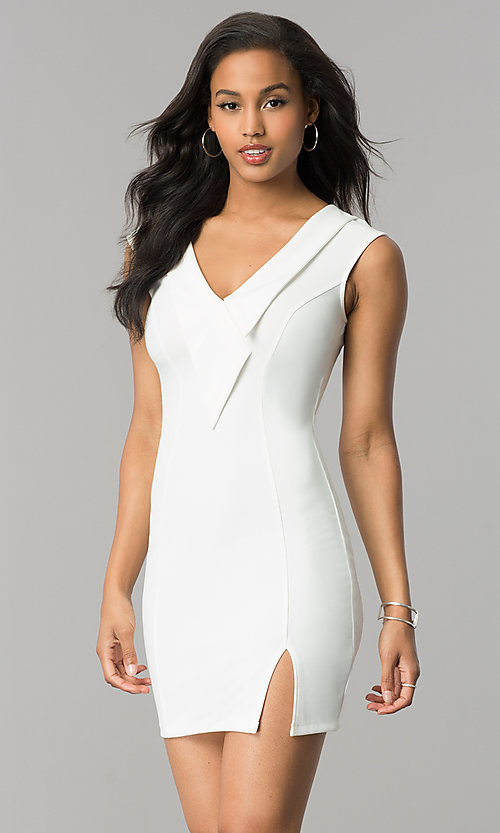 Image of short v-neck bodycon cocktail party dress with slit. Style: SY-ID4915VP Front Image