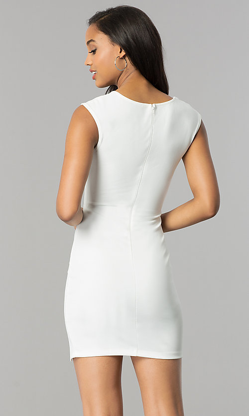 Image of short v-neck bodycon cocktail party dress with slit. Style: SY-ID4915VP Back Image