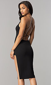 Image of open-back short black strappy cocktail party dress. Style: SY-ID4918VP Back Image
