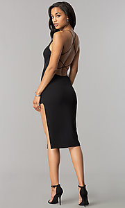 Image of open-back short black strappy cocktail party dress. Style: SY-ID4918VP Detail Image 2