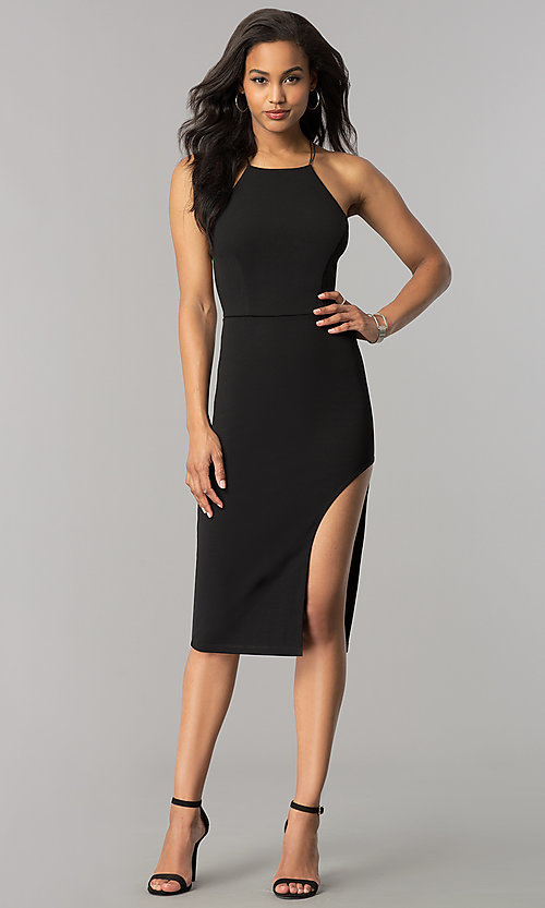 Image of open-back short black strappy cocktail party dress. Style: SY-ID4918VP Detail Image 1