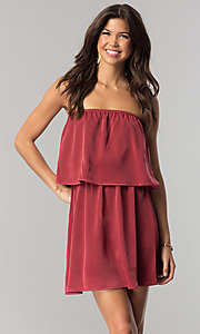 Image of short casual cruise party dress with popover flounce.  Style: RO-R66331 Front Image