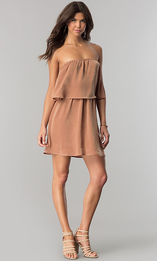 Image of short casual cruise party dress with popover flounce.  Style: RO-R66331 Detail Image 1
