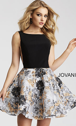 Short Floral Printed Jovani Open-Back Homecoming Dress