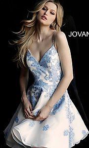 Image of floral-print Jovani ivory short prom dress. Style: JO-53204 Detail Image 3