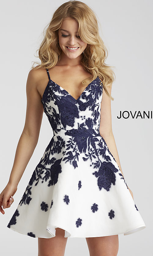 Image of floral-print Jovani ivory short prom dress. Style: JO-53204 Front Image