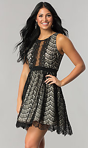 Image of short black lace a-line wedding-guest party dress. Style: DMO-J316847 Front Image
