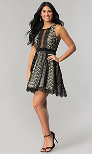 Image of short black lace a-line wedding-guest party dress. Style: DMO-J316847 Detail Image 1