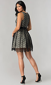 Image of short black lace a-line wedding-guest party dress. Style: DMO-J316847 Detail Image 2
