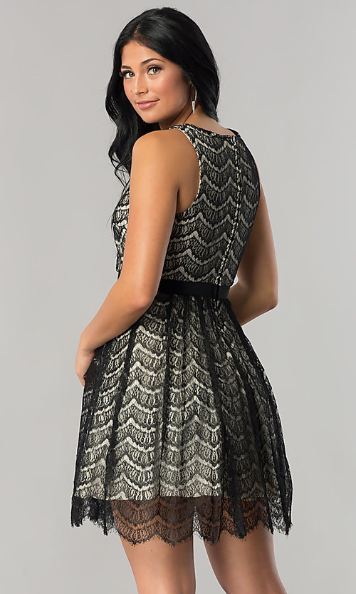 Image of short black lace a-line wedding-guest party dress. Style: DMO-J316847 Back Image