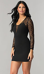 Image of long-sleeve short black mini party dress with lace. Style: DMO-J315356 Front Image