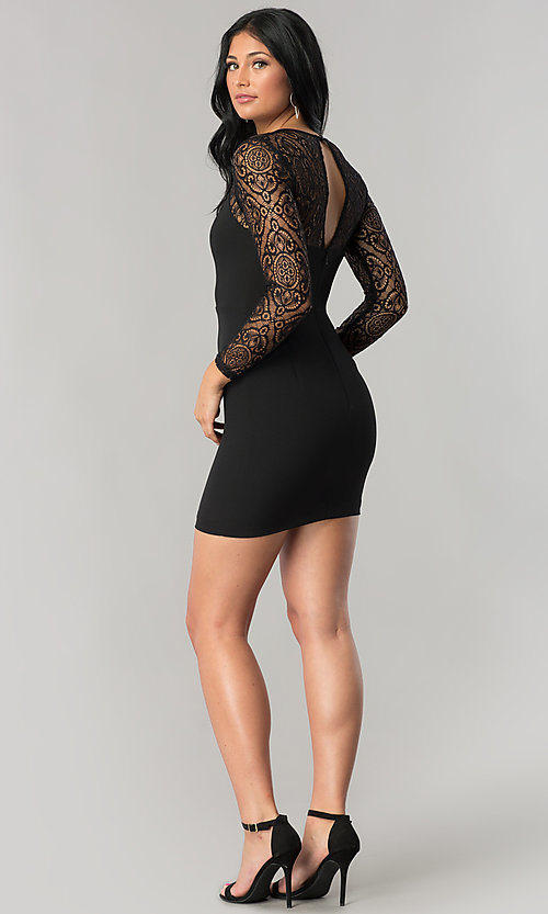 Image of long-sleeve short black mini party dress with lace. Style: DMO-J315356 Detail Image 2