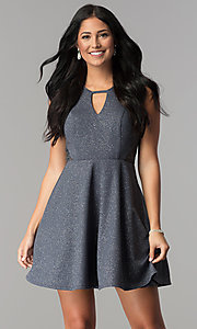Image of keyhole-neckline short a-line gray party dress. Style: DMO-J318917 Front Image