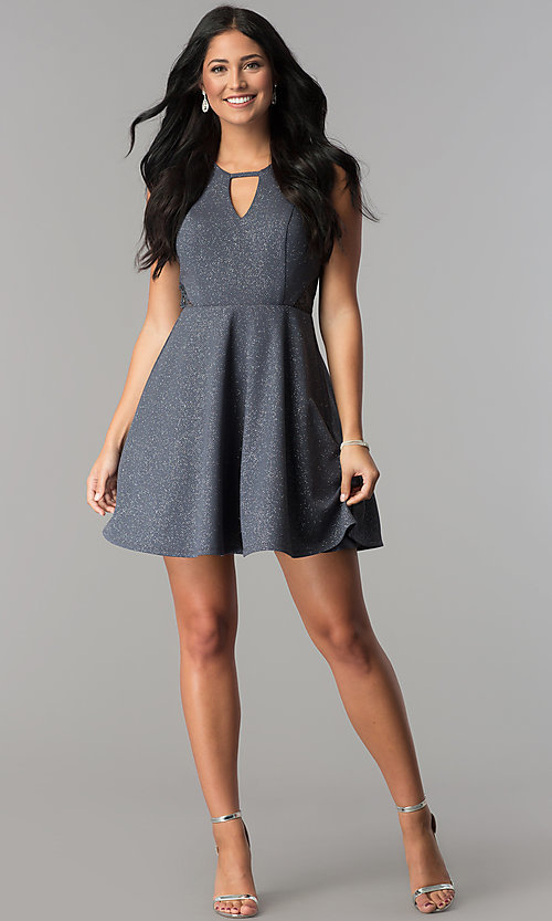 Image of keyhole-neckline short a-line gray party dress. Style: DMO-J318917 Detail Image 2