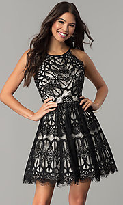 Image of short wedding-guest party dress with black lace. Style: DMO-J319277 Front Image