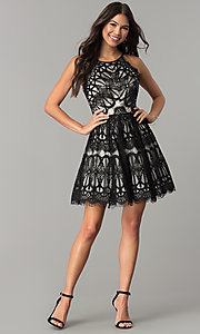 Image of short wedding-guest party dress with black lace. Style: DMO-J319277 Detail Image 2