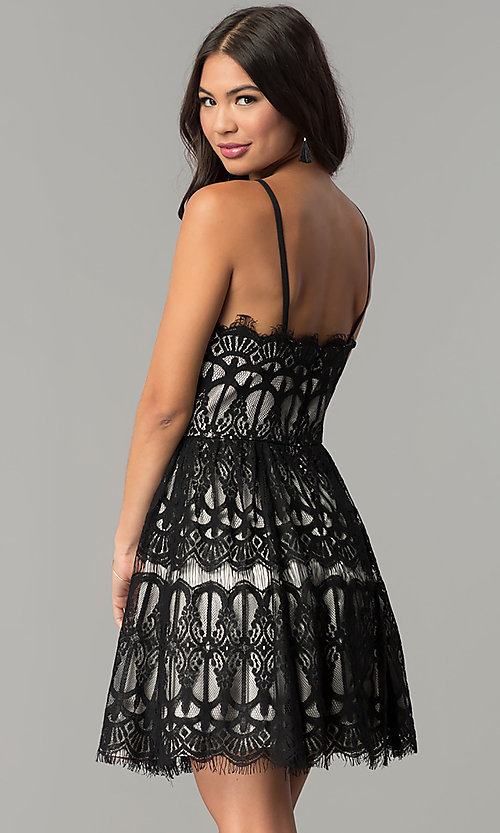 Image of short wedding-guest party dress with black lace. Style: DMO-J319277 Back Image
