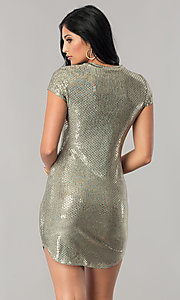 Image of short-sleeve sequin party dress with shirt-tail hem. Style: JU-10240 Back Image