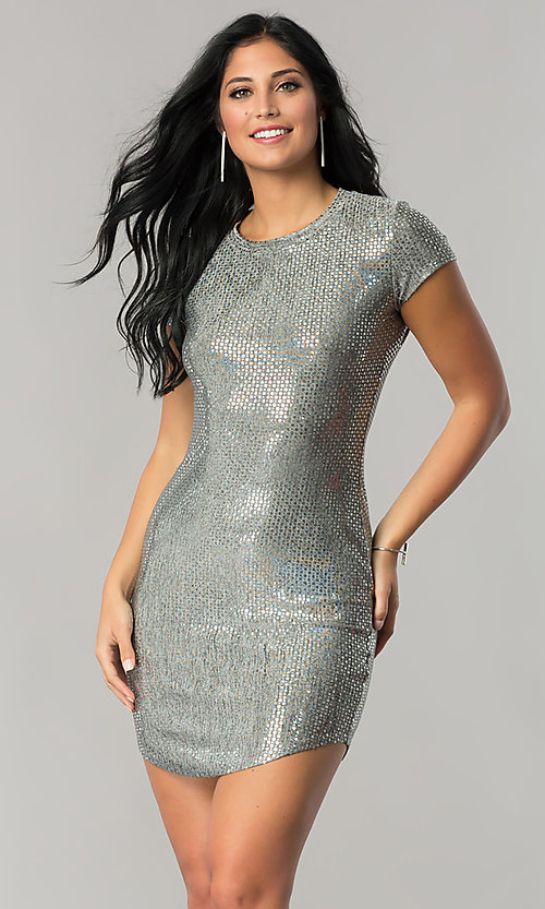 Image of short-sleeve sequin party dress with shirt-tail hem. Style: JU-10240 Detail Image 2