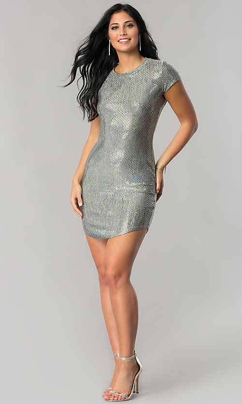 Image of short-sleeve sequin party dress with shirt-tail hem. Style: JU-10240 Detail Image 3