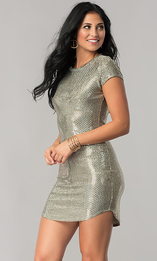 Image of short-sleeve sequin party dress with shirt-tail hem. Style: JU-10240 Front Image