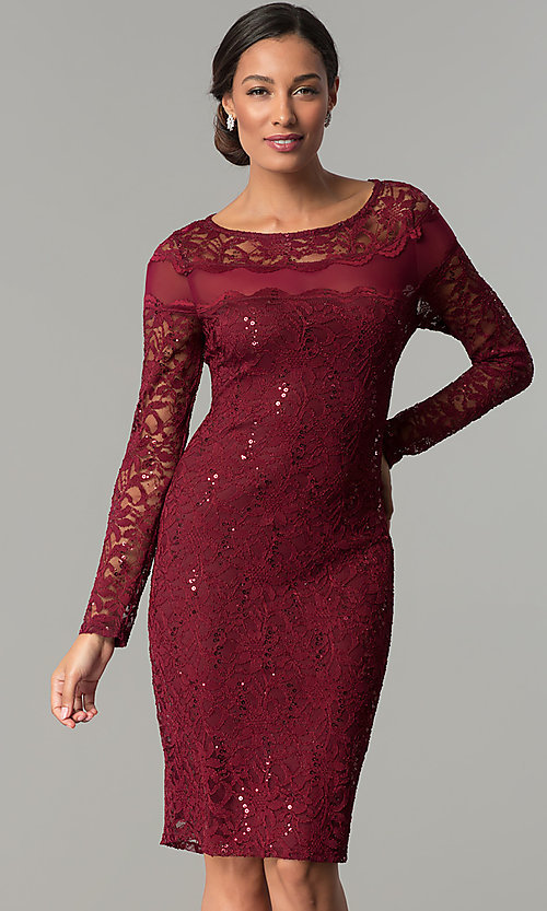 5f7162d27195 Image of long-sleeve short lace wedding-guest party dress. Style: JU