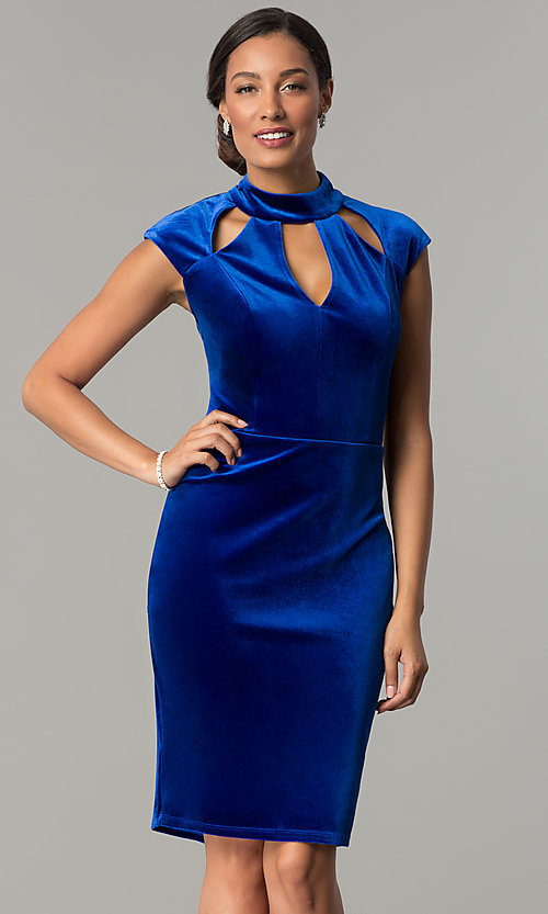 Image of cap-sleeve short velvet wedding-guest party dress. Style: JU-MA-264183 Detail Image 2