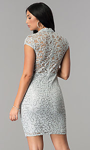 Image of silver sequin-lace short party dress with choker.  Style: JU-10153 Back Image