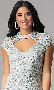 Image of silver sequin-lace short party dress with choker.  Style: JU-10153 Detail Image 1