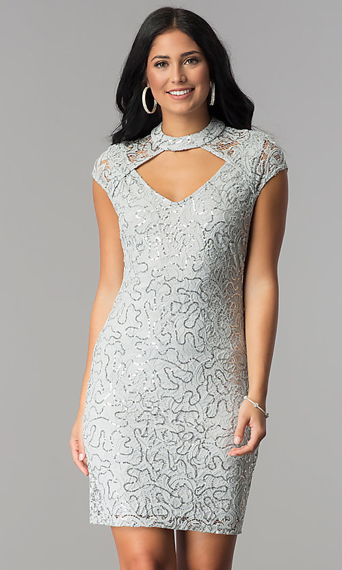 Image of silver sequin-lace short party dress with choker.  Style: JU-10153 Front Image