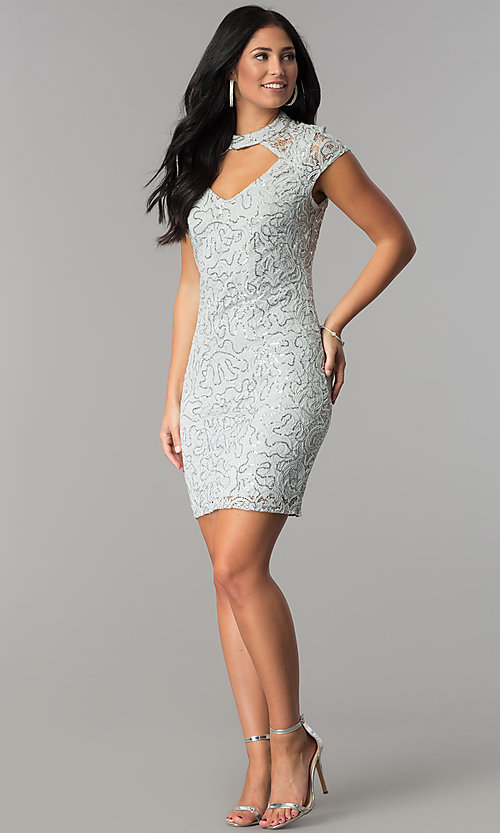 Image of silver sequin-lace short party dress with choker.  Style: JU-10153 Detail Image 3