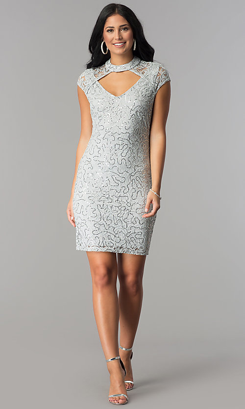 Image of silver sequin-lace short party dress with choker.  Style: JU-10153 Detail Image 2