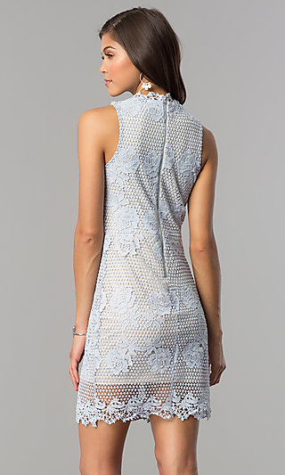 Short Lace Wedding Guest Party Dress In Light Blue