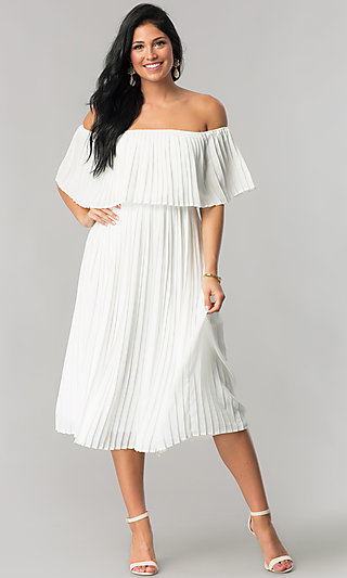 Pleated Off-the-Shoulder Wedding-Guest Party Dress
