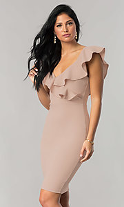 Image of short wedding-guest party dress with ruffled v-neck. Style: JTM-JD7906 Front Image